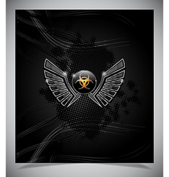 Badge with biohazard symbol and wings vector image