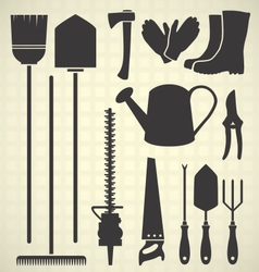 Gardening Tool Silhouette Collection vector image