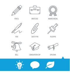 graduation cap pencil and diploma icons vector image