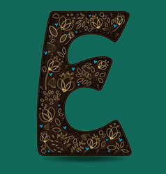 letter e with golden floral decor vector image vector image