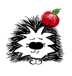cute hedgehog with apple on white background vector image vector image