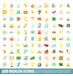 100 wealth icons set cartoon style vector image