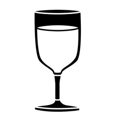 Black silhouette of glass cup of champagne in vector