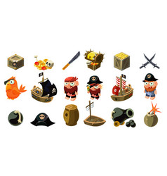 cartoon pirate icons set mobile game assets vector image vector image