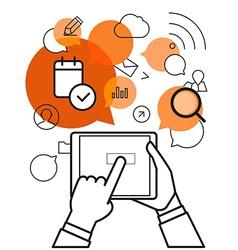 Communicating via modern tablet gadget Simple line vector image