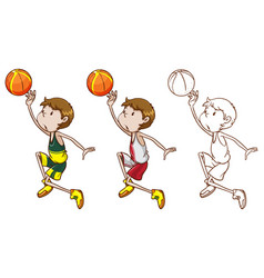 drafting character for basketball player dunking vector image