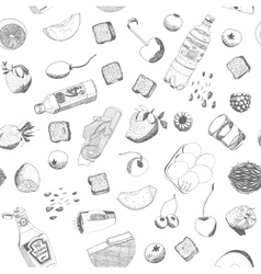 Hand drawn food seamless pattern vector image vector image