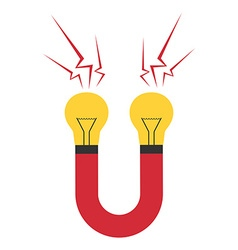 Magnet with lightbulbs isolated vector image vector image