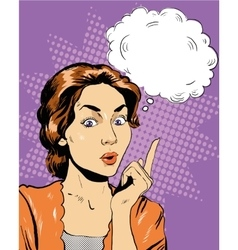 Thinking woman with speech bubble vector