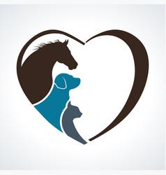 veterinarian heart animal love horsedog and cat vector image