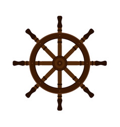 wooden ship helm in flat style for yacht clubs vector image