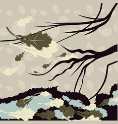 A gloomy background with a branch of a tree and vector