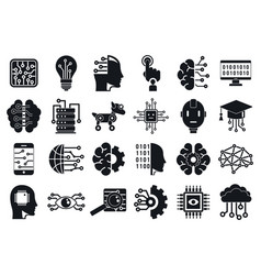 artificial intelligence icons set simple style vector image