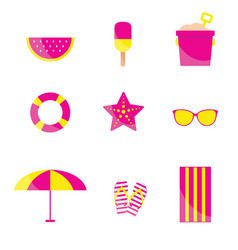 Beach items in pink and yellow color vector