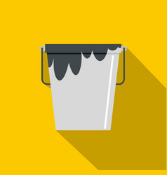 Bitumen emulsion in grey bucket icon flat style vector