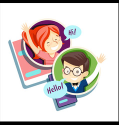 Boy and girl talking online communication vector