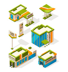 buildings of gas service exterior of fuel station vector image