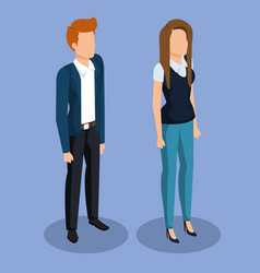business couple isometric avatars vector image