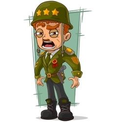 Cartoon army general in green helmet vector
