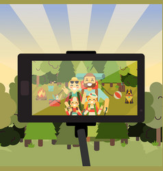 Cartoon people characters in forest taking selfie vector