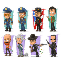 cartoon policeman in uniform and gangster set vector image