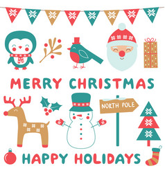 chrismas clip art and decoration set vector image