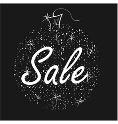 Christmas sale on shiny ball on black background vector