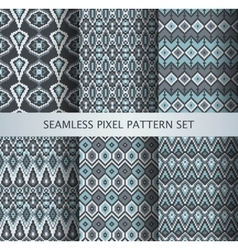 Collection of pixel gray seamless patterns vector