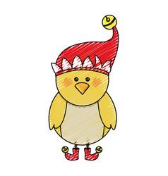 color crayon stripe cartoon of chicken with boots vector image