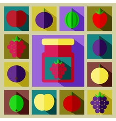 color set of different kinds of berries with vector image