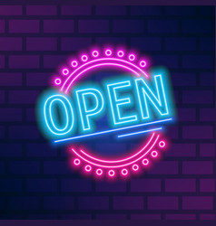colorful neon signboard open flat vector image