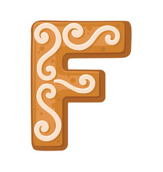Cookies in shape letter f vector