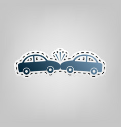crashed cars sign blue icon with outline vector image