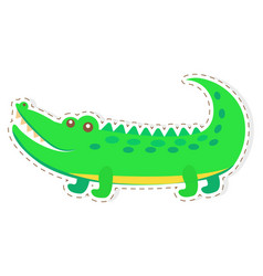 Cute crocodile cartoon flat sticker or icon vector