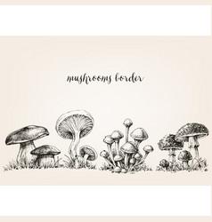 Cute mushrooms border hand drawn collection vector