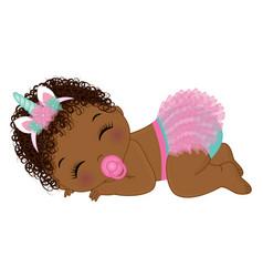 Cute unicorn black baby girl in ruffled diaper vector