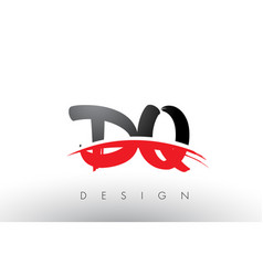 Dq d q brush logo letters with red and black vector