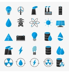 Energy or electricity icon set vector image vector image
