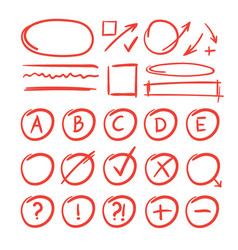 exam marks and notes for learn testing red grade vector image