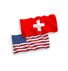 Flags switzerland and america vector