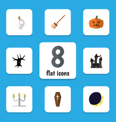 Flat icon festival set of broom candlestick vector