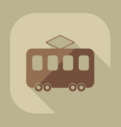 flat modern design with shadow icon tram vector image