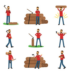 Flat woodcutter cartoon character set in different vector