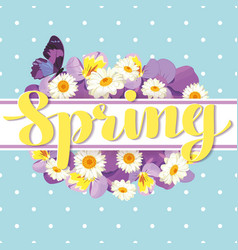 Floral card template with calligraphic text spring vector