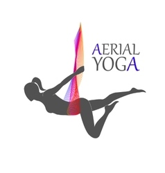 Flying yoga logo aerial yoga for women vector