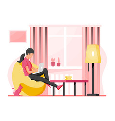 Freelancer woman with laptop in beanbag chair vector