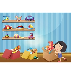 Girl and many toys on shelves vector