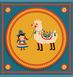 girl lama vector image