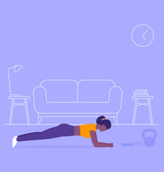 Girl training abs at home plank exercise workout vector