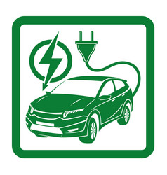 green sign of electric car vector image